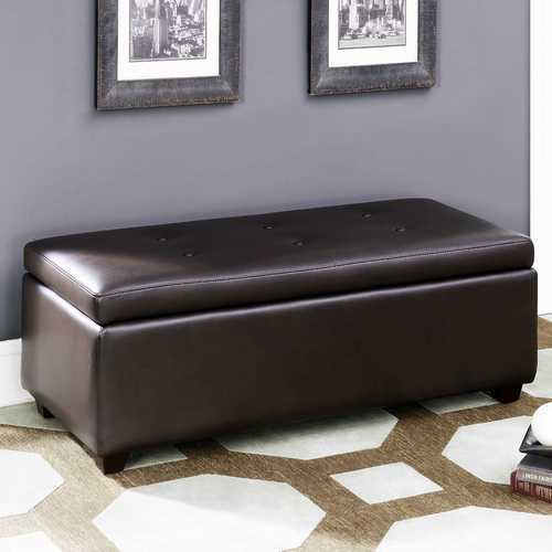 Brown Leather-Infused Fabric Contemporary Button Tufted Storage Ottoman