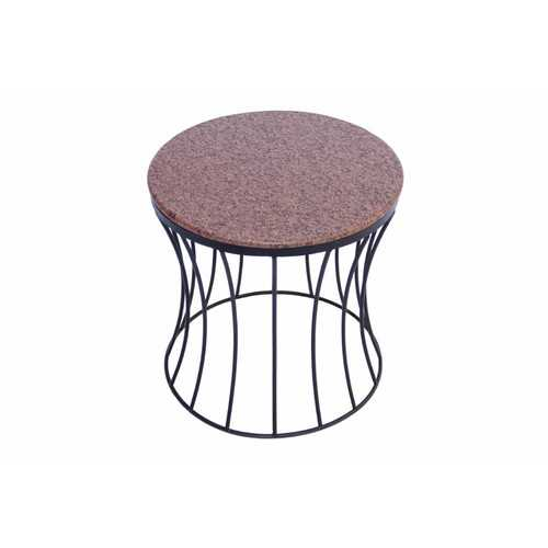 Stylish Iron Base Side Table With Marble Top, Brown