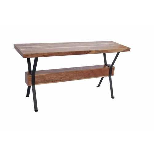 Elegant Wood & Iron Console Table, Brown