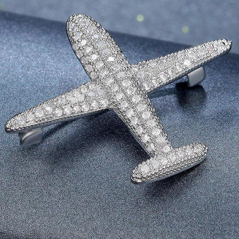 Crystal Airplane Brooch