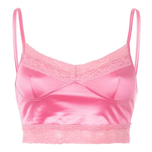 Hot pink satin and lace camisole crop top
