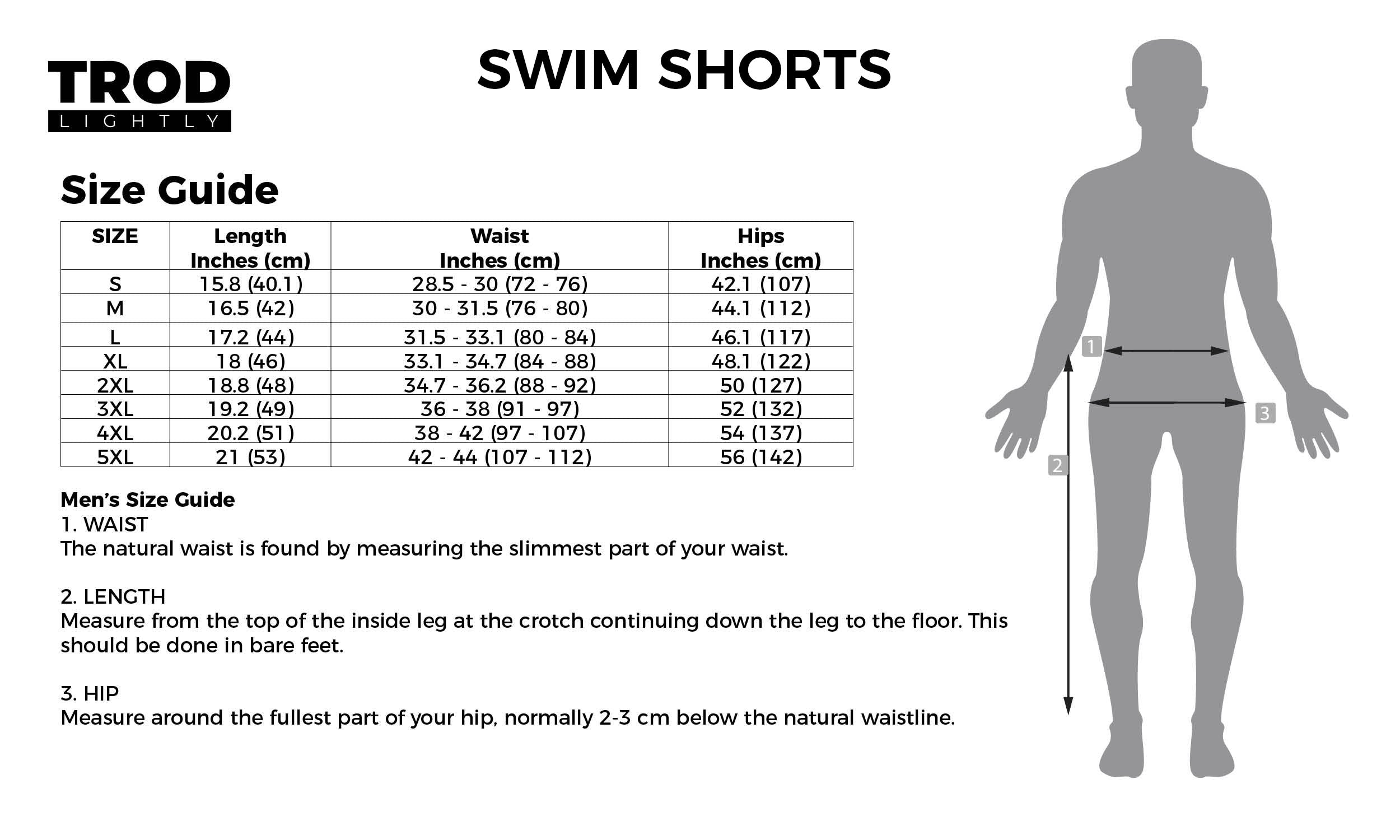 Swim Shorts Size Guide
