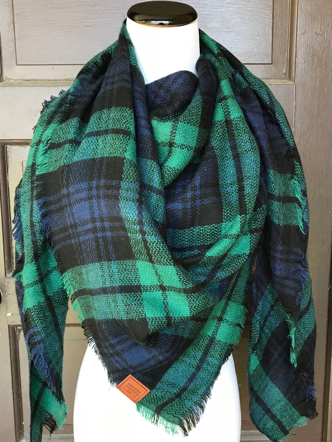 Sweater Weather Co. Blanket Scarf - Navy + Kelly