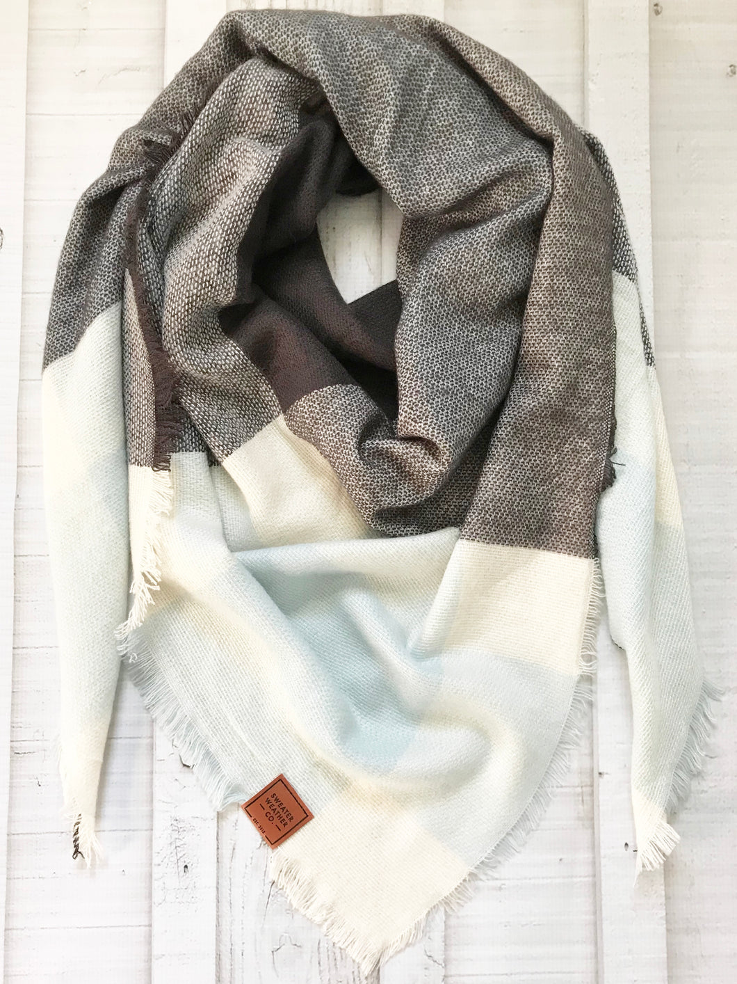 Sweater Weather Co. Blanket Scarf - Blue + Charcoal