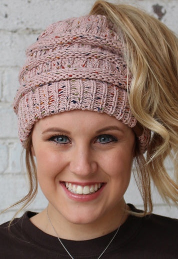Messy Bun Confetti Knitted Beanie - Rose