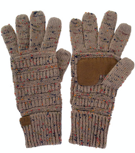 Knitted Gloves - Confetti Taupe