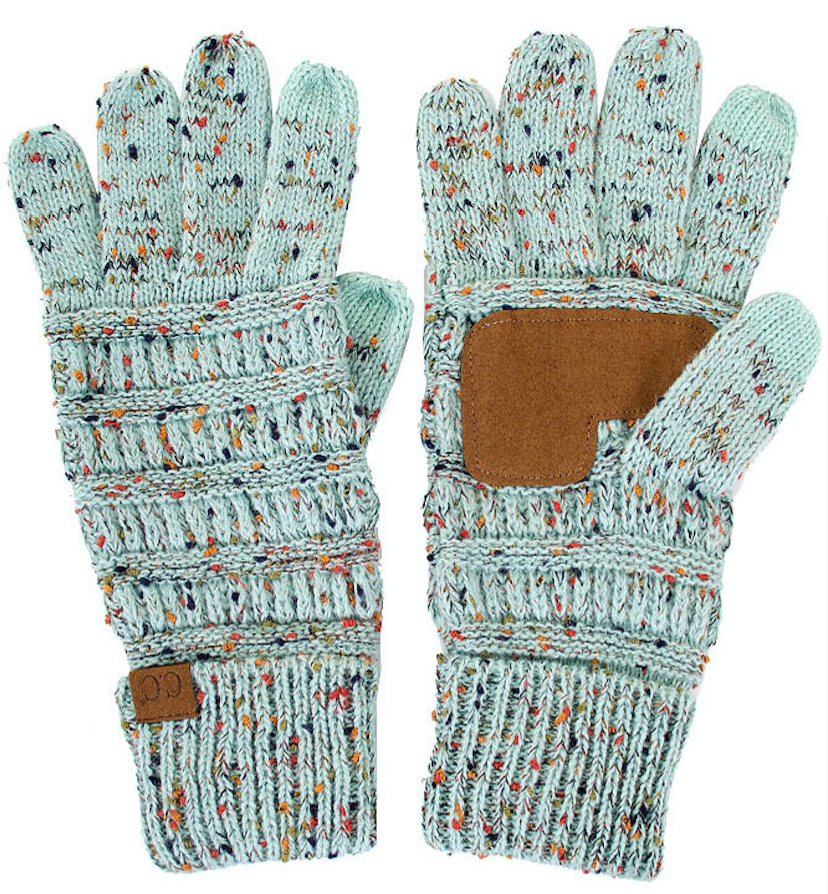 Knitted Gloves - Confetti Mint