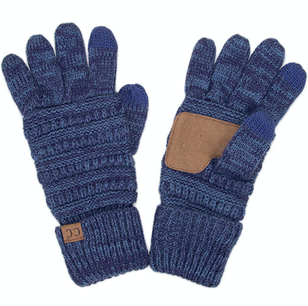 Knitted Texting Gloves - Blue