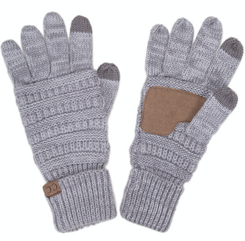 Knitted Texting Gloves - Gray