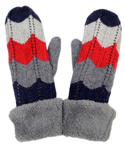 Wool Chevron Blend Mittens - Navy