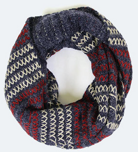 Stitched Infinity Scarf - Navy