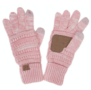 Knitted Texting Gloves - Rose