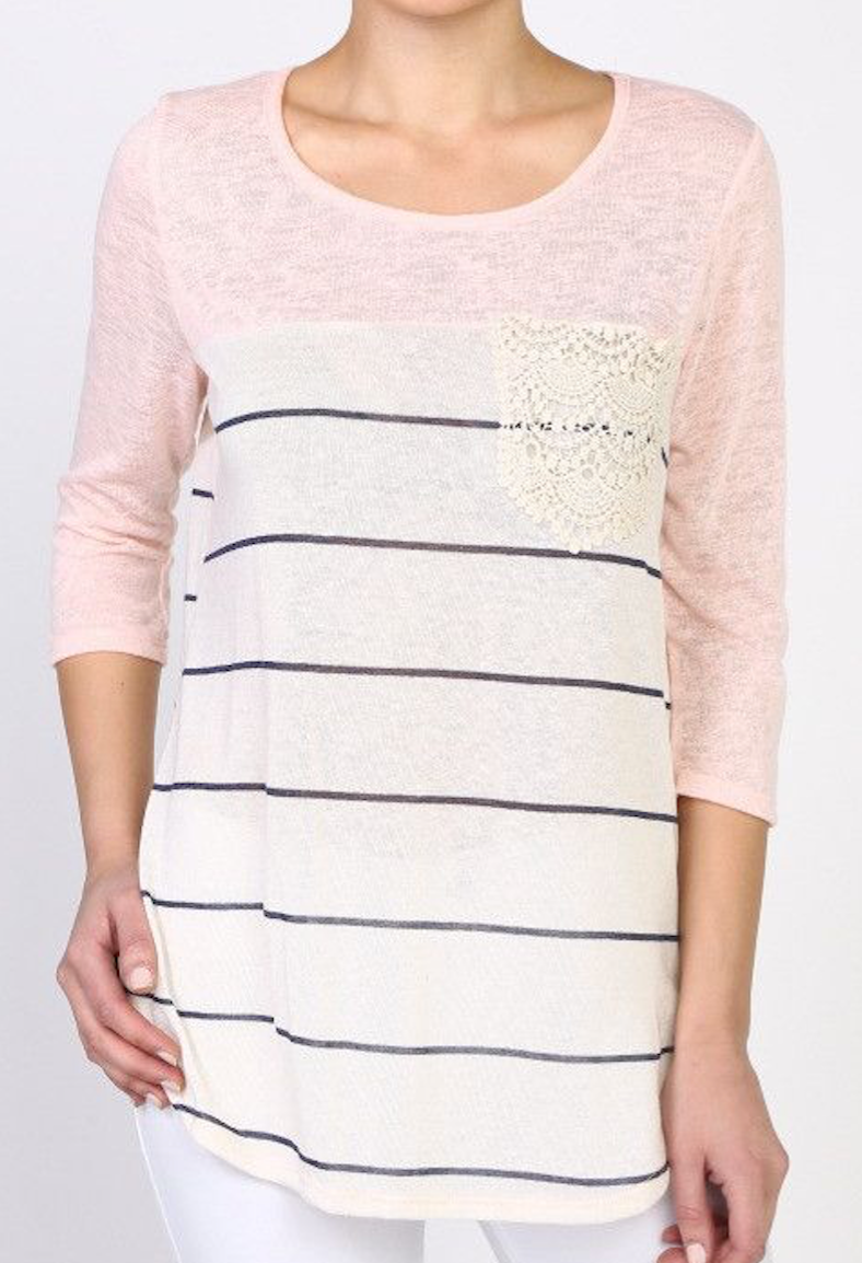 Colorblock Striped Top - Blush