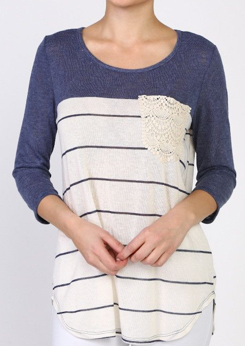 Colorblock Striped Top - Navy