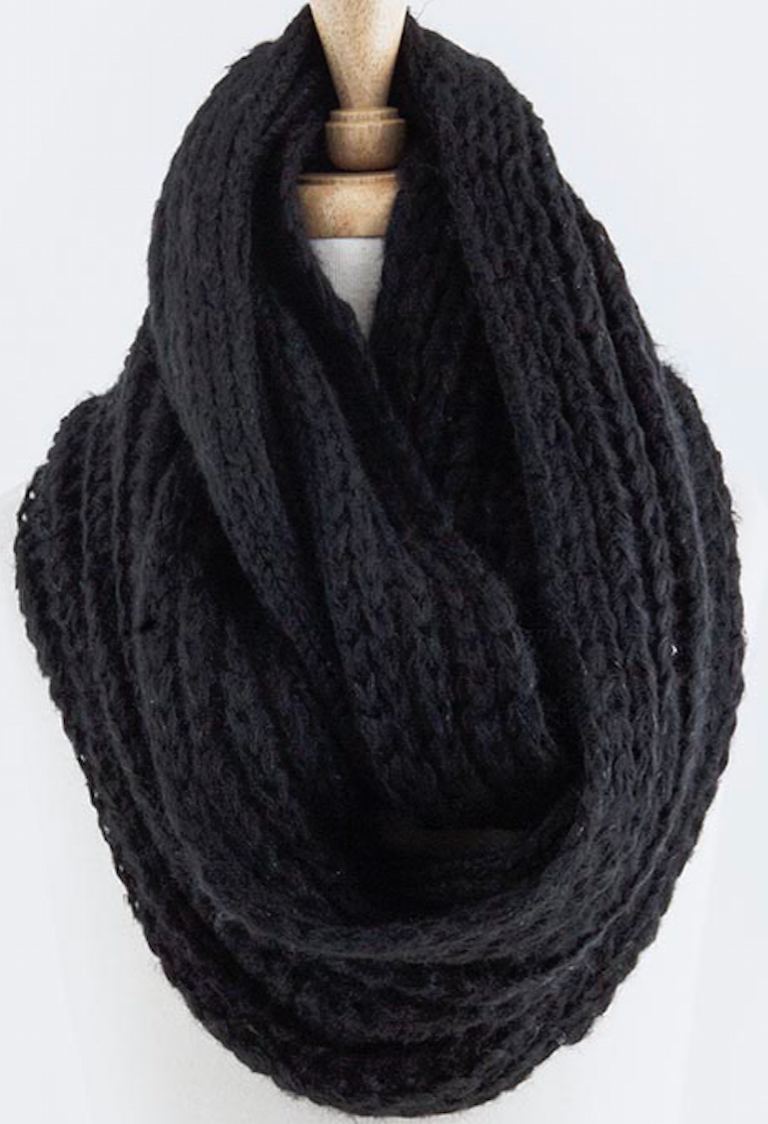 Cable Knit Infinity Scarf - Black