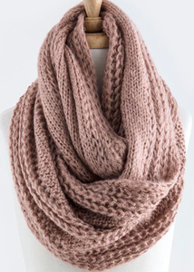 Cable Knit Infinity Scarf - Rose