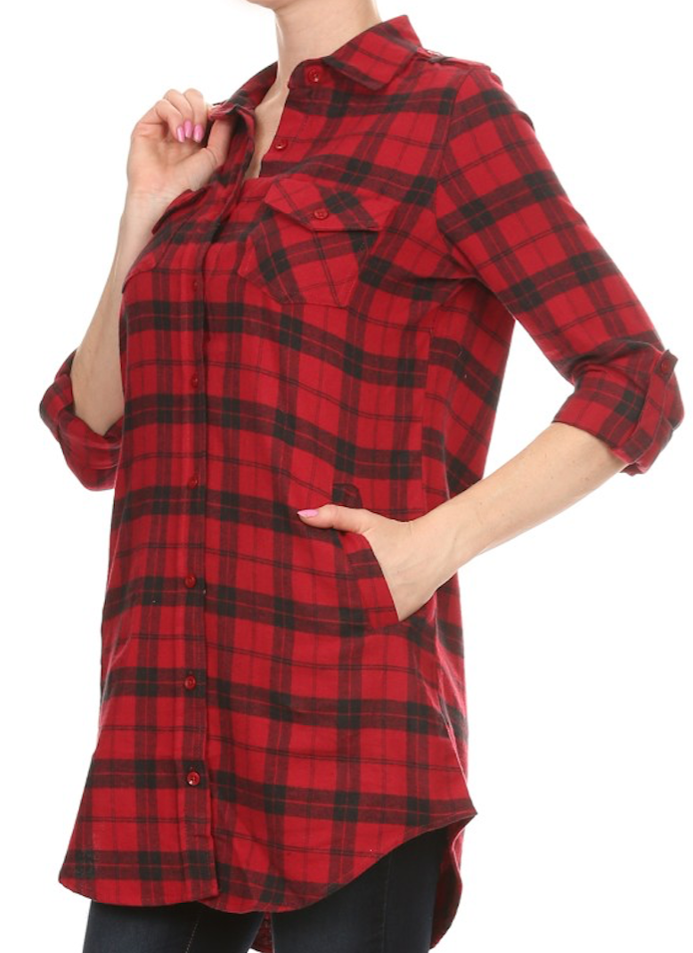 Plaid Flannel Tunic in Red