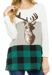 Reindeer Accent Plaid Tunic