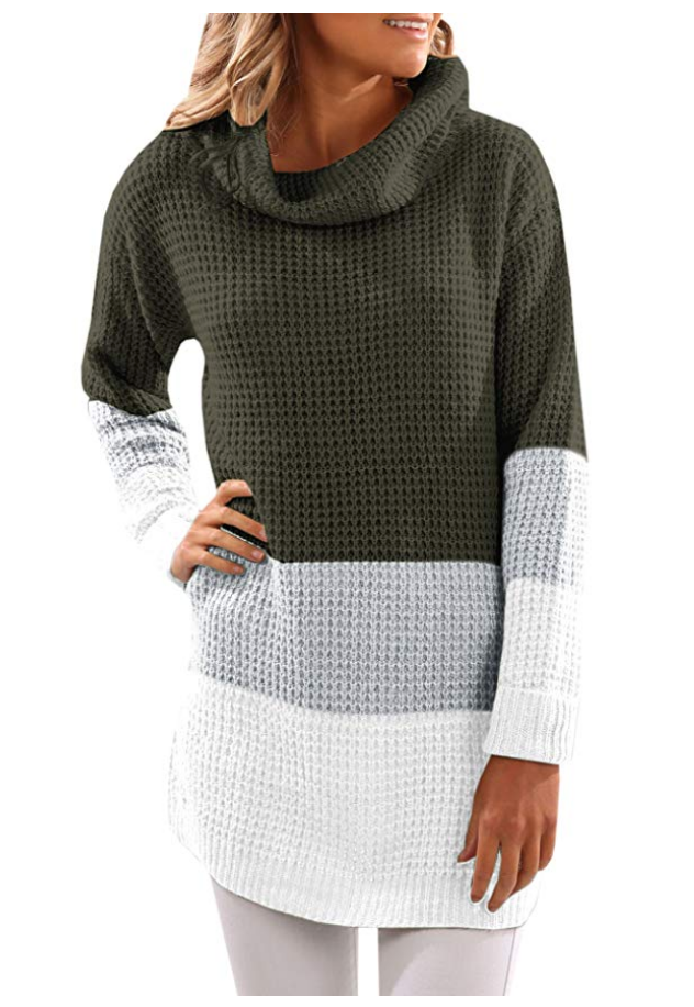 Colorblock Tunic Knit Sweater in Olive