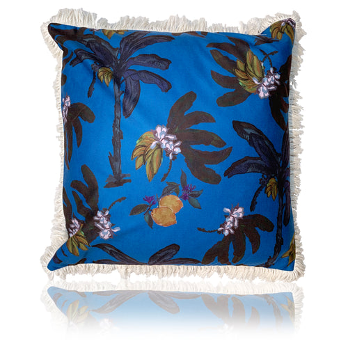 Banana Bungalow Cushion Blue- 60cm with fringing