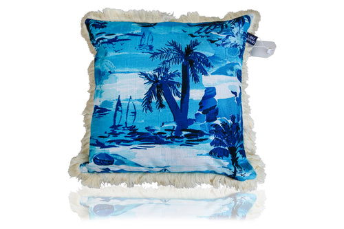 Calypso Capri Cushion in island blue 45cm