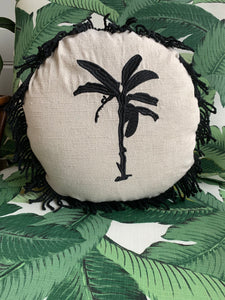 Round Fringed Embroidered Cushion in Banana Bungalow