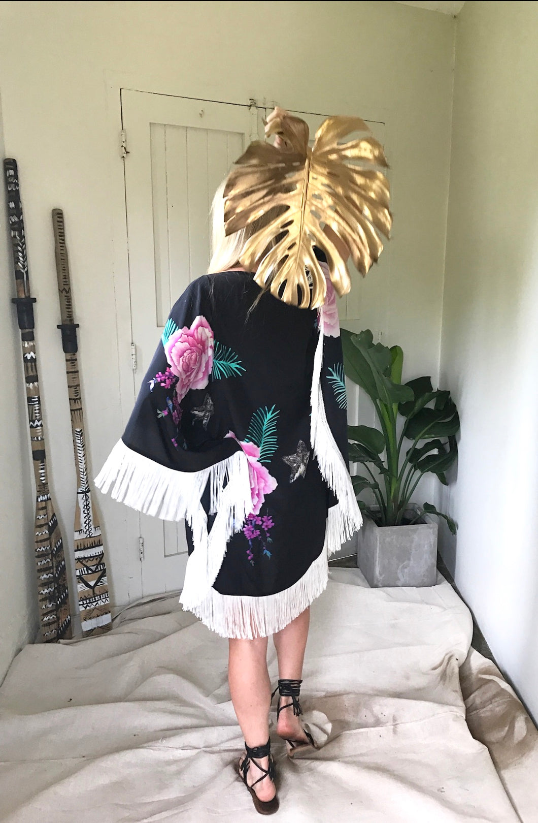 Half Moon Fringed Kaftan - Tropical Oasis