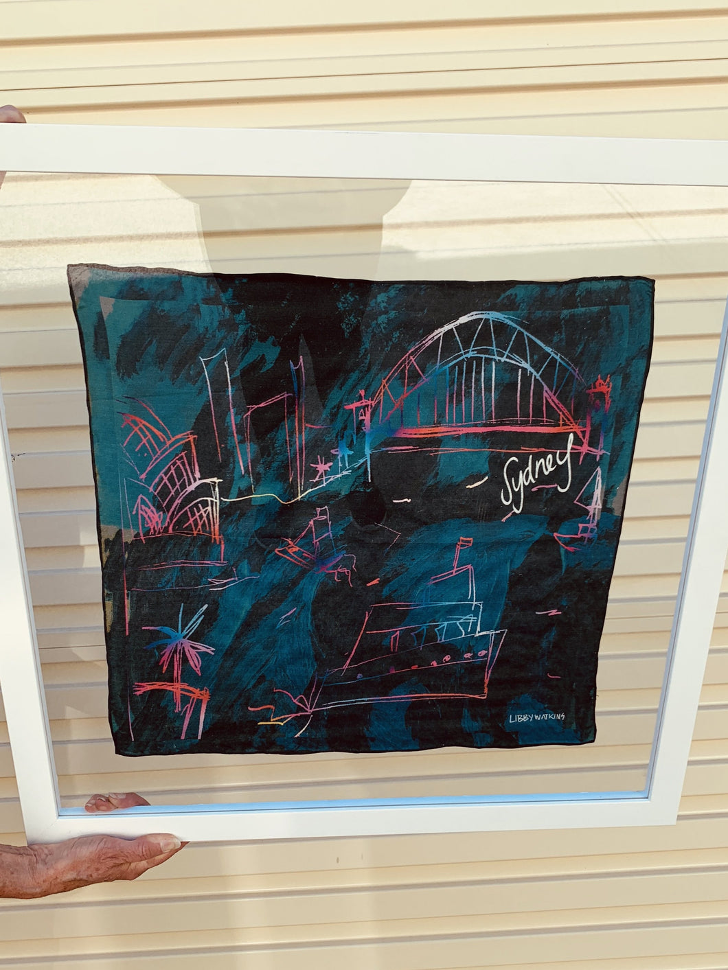 Sydney Illustration Printed on silk Scarf Framed