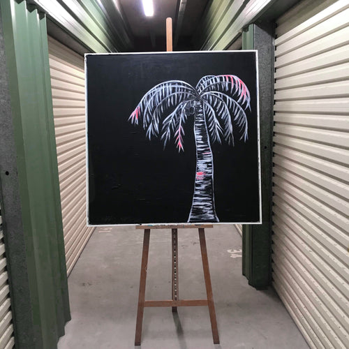 Contrast Ink Palm on Canvas Framed floating