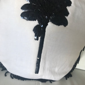Round Fringed Sequin Cushion in Coco Cabana Palm