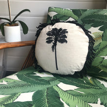 Round Fringed Embroidered Cushion in Coco Cabana