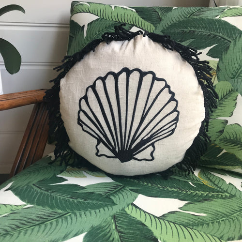 Round Fringed Embroidered Cushion in Clam