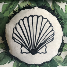Round Fringed Cushion in Clam