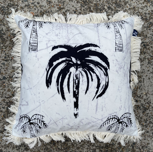 Signature Palm Cushion - White/ grey/ black 45cm