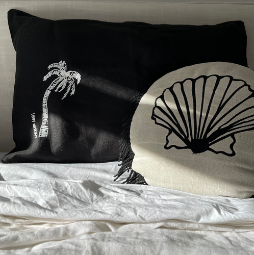Signature Single Ink Palm Pillow Cases - Heavy Weight Linen in Black