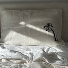 Signature Single Ink Palm Pillow Cases - Heavy Weight Linen in Cream