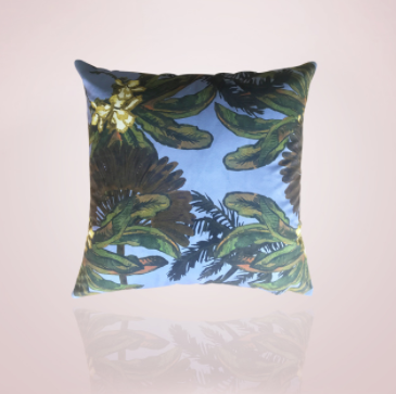 Gypsy Palm Cushion - 60cm Blue
