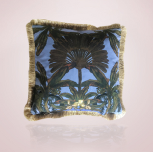 Gypsy Palm Cushion - 45cm Blue