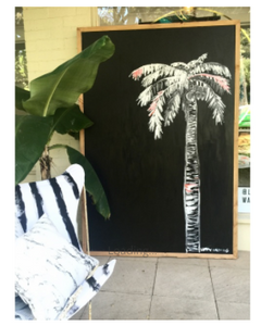 Contrast Ink Palm hand painted Canvas by Libby Watkins
