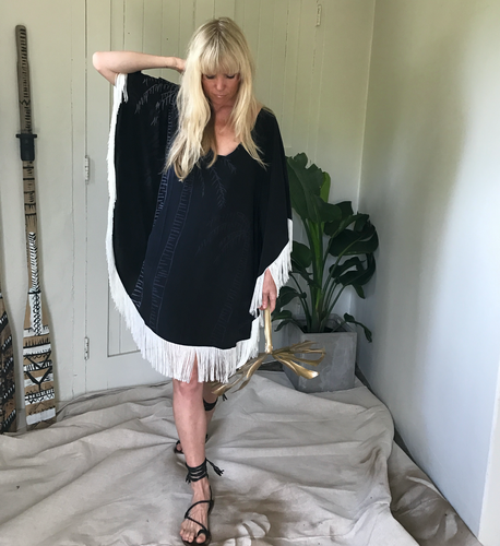 Half Moon Fringed Kaftan - INK PALM
