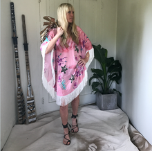 Half Moon Fringed Kaftan - Pink Palm