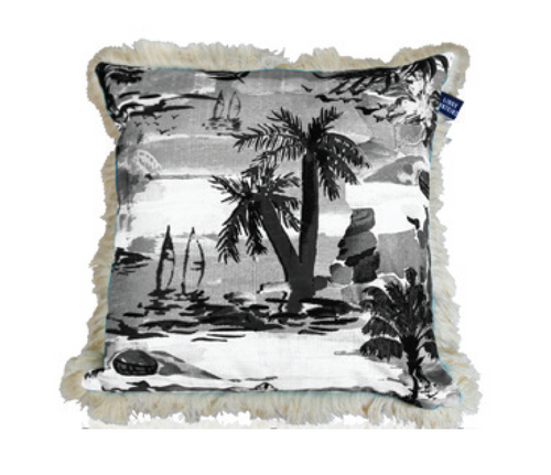 Calypso Capri Cushion - 45cm Ink