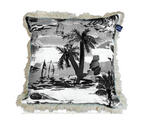 Calypso Capri Cushion - 60cm black ink