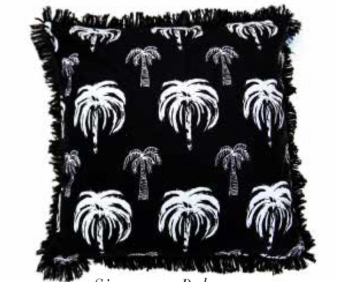 Signature Palm Cushion - Black repeat 45cm