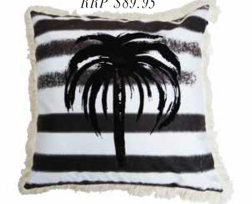 Signature Palm Cushion - Black Stripe 60cm