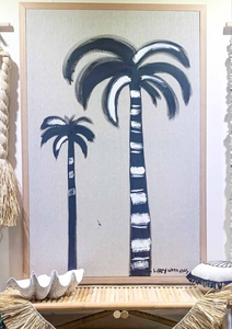 Linen Contrast Ink Palm hand painted Canvas by Libby Watkins