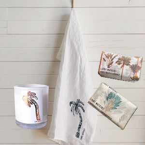 Stay At Home Signature Palm Candle + Linen Pack