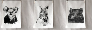 Aussie Animal Set of 3 Linen tea towel