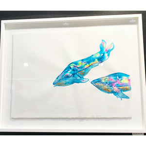 Rainbow Whales in with gold leaf highlights | Made to order with artist Libby Watkins