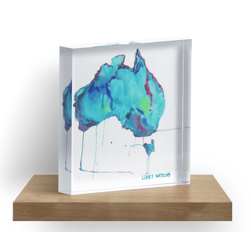 Travelling Artwork Australia Map Limited Edition Print Block